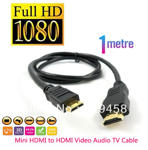3 ft 1m Mini HDMI to HDMI Cable for Fujifilm FinePix Real 3D W1 X100 HS10 HS11 1080P Free shipping