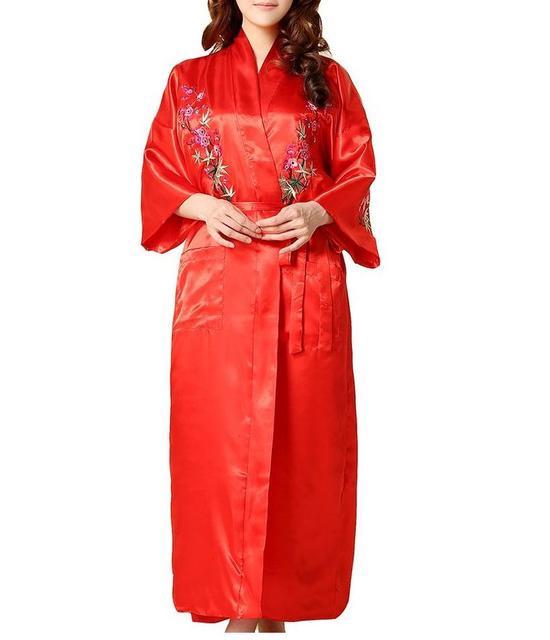 Урожай красное китайский стиль женский вышивка халат шикарный цветочный ночная рубашка кимоно юката ванна платье размер sml XL XXL XXXL A134