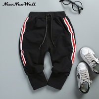 NNW Infant Baby Boys White Red Stripped Pants Autumn Cotton Comfortable Black Casual Drawstring Trousers 1