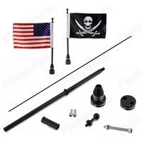 Custom Motorcycle Black Luggage Rack Mount Flag Pole W Skull USA US For Harley Honda Yamaha