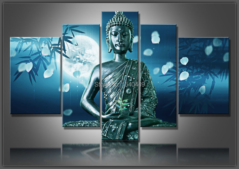 5 Piece Hand Made Modern Abstract Blue Buddha Oil Painting