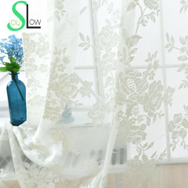 Slow soul european jacquard curtain flowers white beige embroidered slow soul european jacquard curtain flowers white beige embroidered floral curtains tulle for living room kitchen mightylinksfo