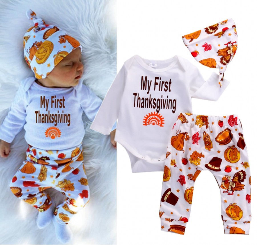 Thanksgiving Infant Baby Boy Girl Outfits Clothes Romper Pants