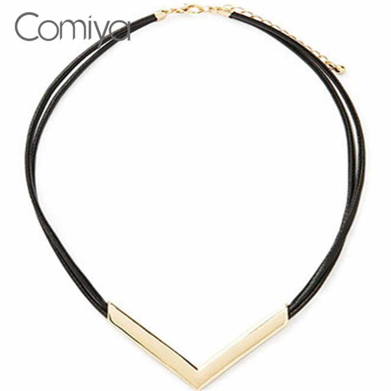 Comiya komunikat Big marka skóra V Chokers naszyjniki ze stopu cynku Steampunk naszyjnik dla kobiety bisutería Mujer Collier Femme