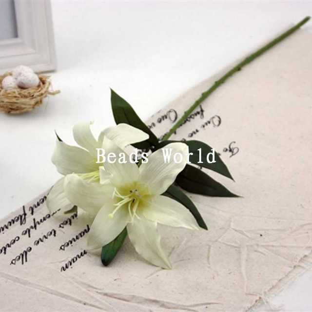 1 Bunch White Lily Bouquet Artificial Flower Wedding Home Decoration ...
