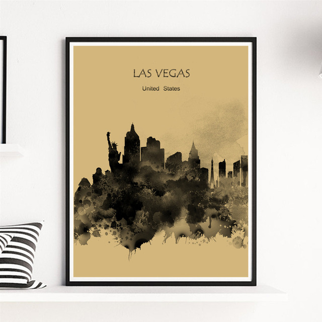 World city las vegas blackish jaundice art print painting kraft paper wall sticker home living room