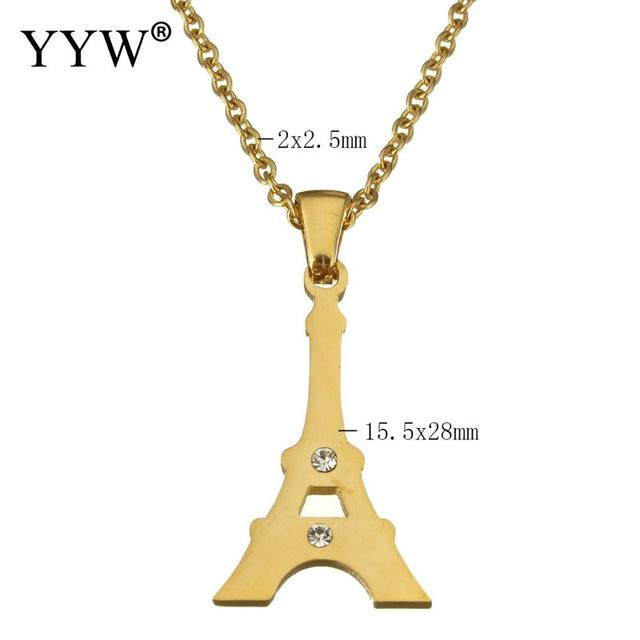 Yyw european eiffel tower charm pendant necklace rhinestone original yyw european eiffel tower charm pendant necklace rhinestone originalgold color stainless steel pendent necklace aloadofball Images