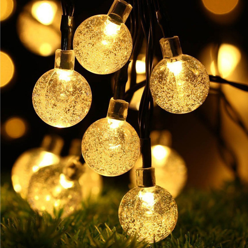 Solar Led String 7M 30Led Crystal Ball Globe luz Waterproof Warm White Fairy Light Garden Decoration Outdoor Solar Lamp