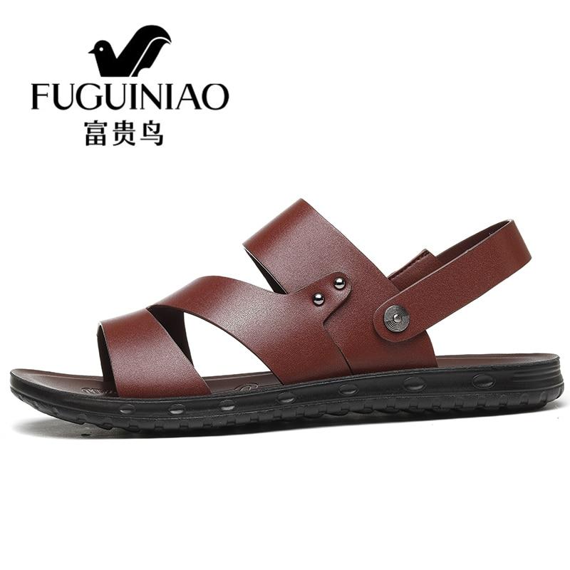 De Chinelos Marca Praia Moda Verão Homens Couro Dos Fuguiniao Preto Respirável Sandálias Masculina marrom Genuíno Da Sapatos Do Casuais rrXOI