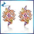 Rose Gold Plated Oversized Big Stud Earrings with Multicolor AAA Zircon For Women Luxury Christmas Gift