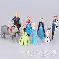 Disney 8 Pcs 5-9 Cm Rainha da Neve e do Gelo Congelado Princesa bonecas Elsa Anna Boneco De Neve Bolo Decoração Set Boneca para Crianças festa de Aniversário presente