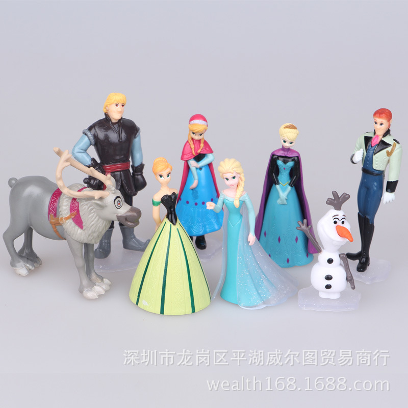 Disney 8 Pcs Snow and Ice 5-9 Cm Queen Frozen Princess Dolls Elsa Anna Snowman Cake Decoration Doll Set for Kids Birthday Gift