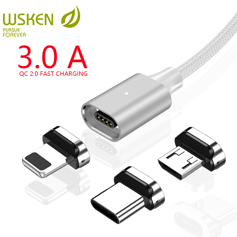 WSKEN X2 Magnetic Charging Cable for iPhone Charger Micro USB Cable USB Type C 3A Magnetic Cable for Samsung Type C USB C CableWSKEN X2 Magnetic Charging Cable for iPhone Charger Micro USB Cable USB Type C 3A Magnetic Cable for Samsung Type C USB C Cable