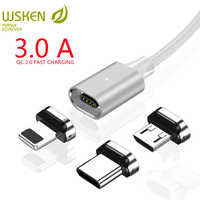 WSKEN X2 Magnetic Charging Cable for iPhone Charger Micro USB Cable USB Type C 3A Magnetic Cable for Samsung Type C USB C Cable