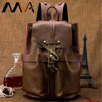 MVA Men's Bag Leather Backpack For Men Vintage Backpack Teen School Bag For Backpack Men's Travel Bags Male Multifunction2946