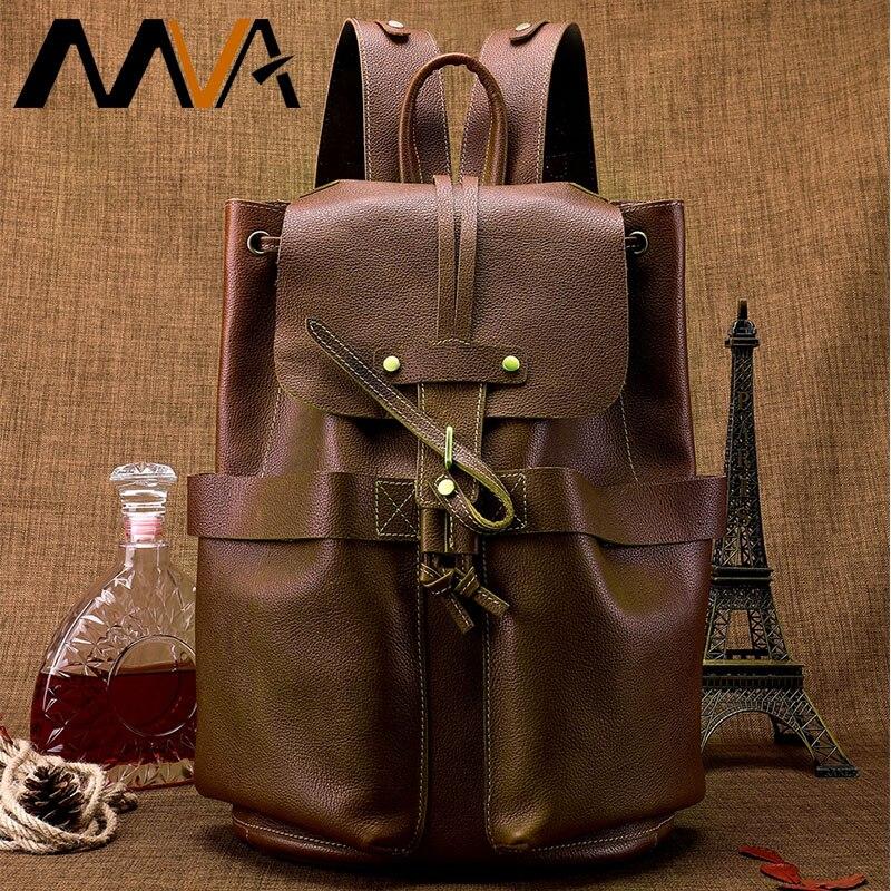 MVA sac pour hommes en cuir sac à dos pour hommes Vintage sac à dos adolescent sac d'école pour sac à dos sacs de voyage pour hommes mâle multifonction