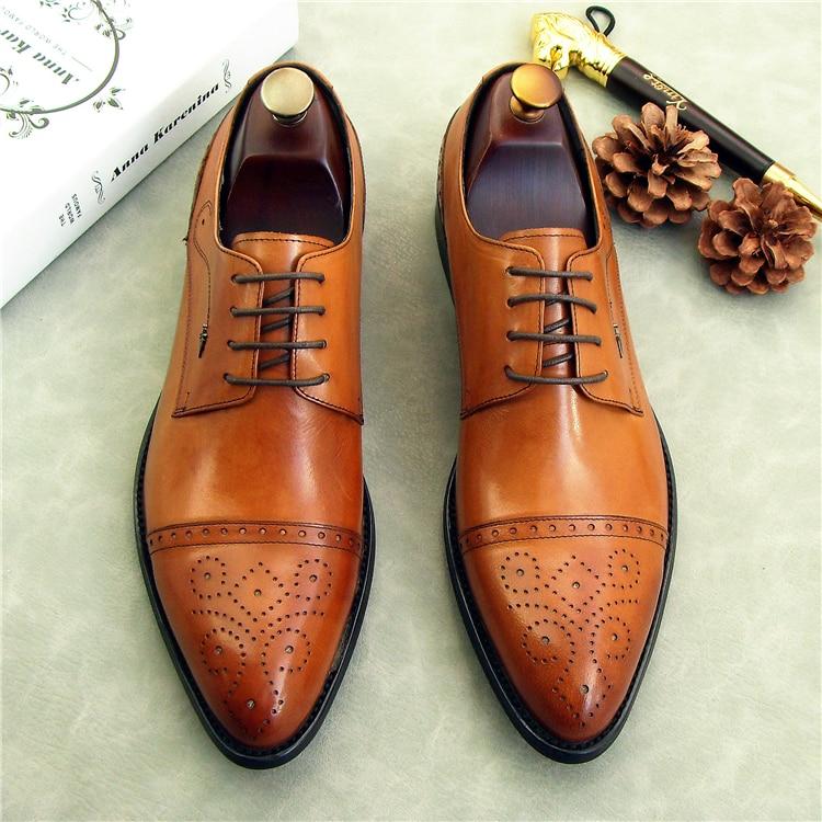 1 Boda Rendimiento Negocios Oxfords Derby Tallada Moda Zapato Zapatos De Genuino Cuero Primavera 2 Hombres 3 La Borgues YBHnZ
