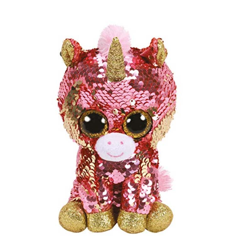 Ty 6'' 15cm Beanie Boos Ty Sunset   Sequin Unicorn Dog Cat Owl Fox Chihuahua Dinosaur Bunnie Bat Plush Animal Toy Doll Toys