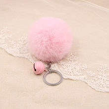Cute Candy bell Fur KeyChains 8cm Fluffy Pom pom Faux Key chain Trinket Jewelry For Women Bag Toy Key Ring Charms With Pendant(China)