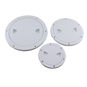 """Image 2 - Plastic Round 4"""" 6"""" 8"""" Marine Boat RV Hatch Cover White Screw Out Deck Inspection Plate"""