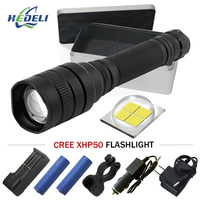 High Power flash light Zoomable cree Xhp50 led Flashlight waterproof torch Lanterna linterna Use rechargeable batteries 18650