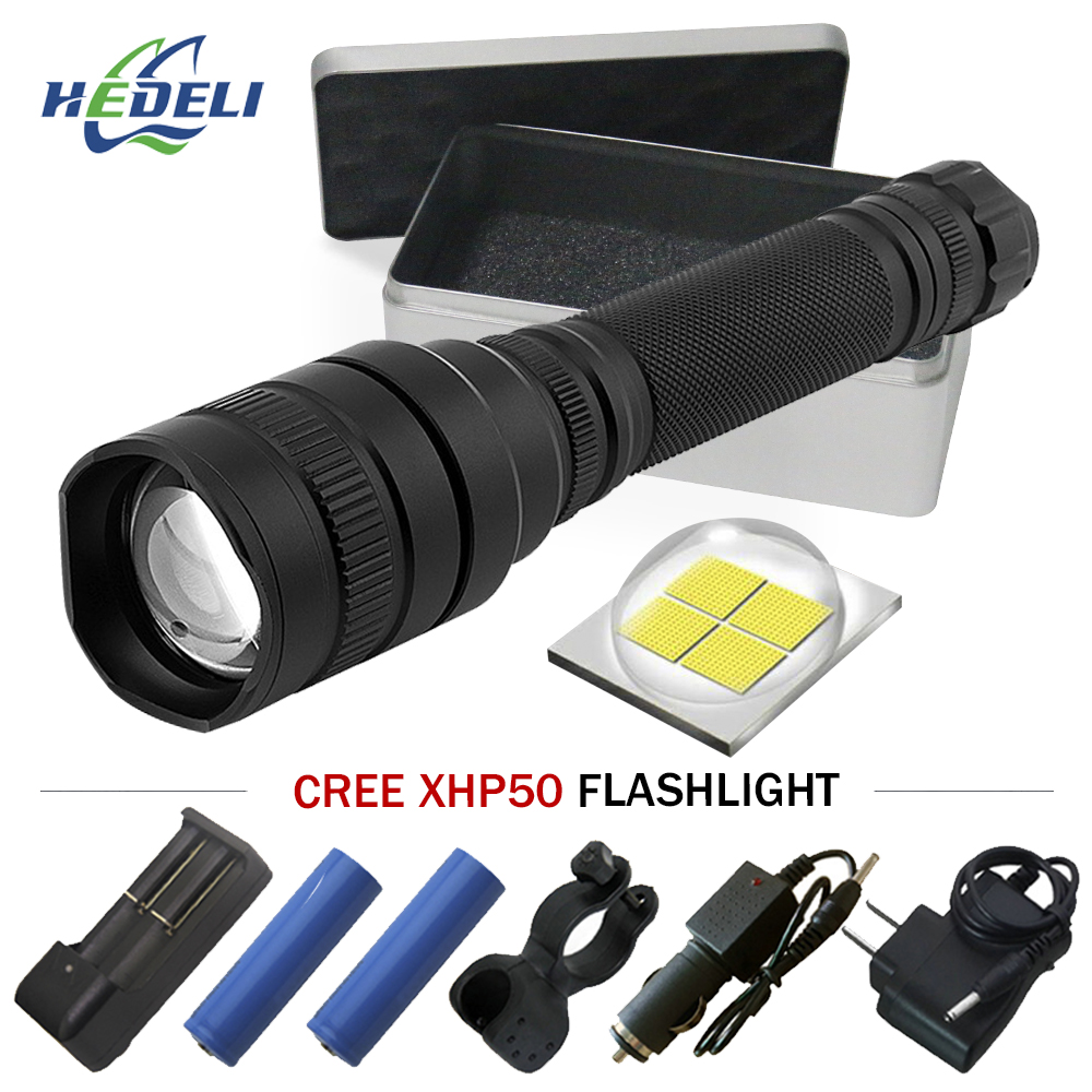 High Power flash light Zoomable cree Xhp50 led Flashlight waterproof torch Lanterna linterna Use rechargeable batteries 18650 2017 special offer flashlight waterproof lanterna torch cree led power bank flash light shock resistant sos 5 8 files 1000