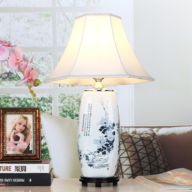 White bamboo porcelain table lamps cloth lampshade for living room white bamboo porcelain table lamps cloth lampshade for living roombedroom ceramic desk lights home mozeypictures Images