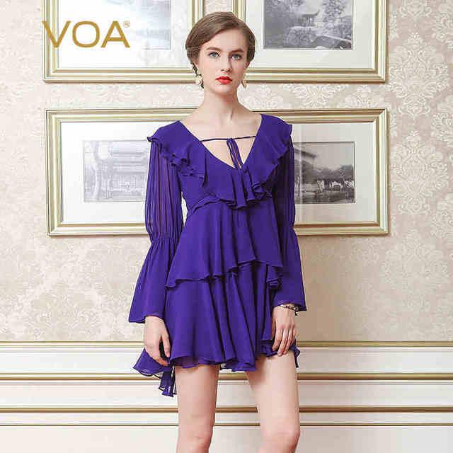 VOA Silk Layered Dress Women Sexy Club Mini Dresses Deep V Neck Purple Sweet  Ruffles Flare e4d4df06e