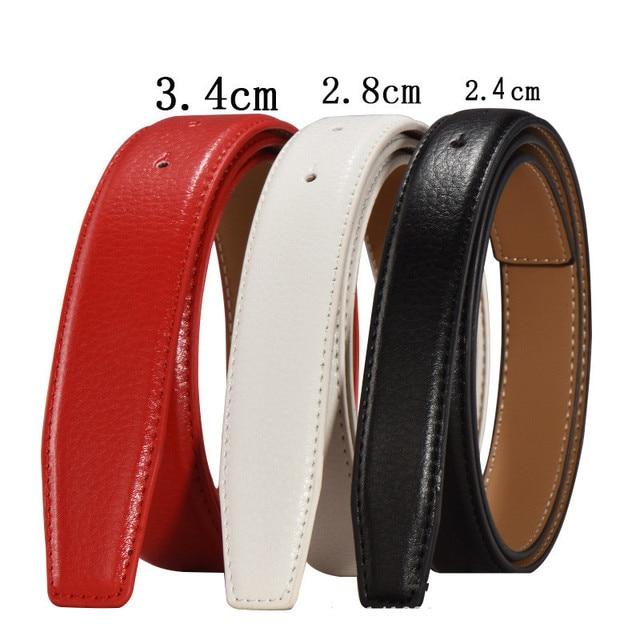 VOHIO 2.8 cm largeur hommes ceintures en cuir sans boucles de ceinture  corps rouge noir cowather b3666d759b9