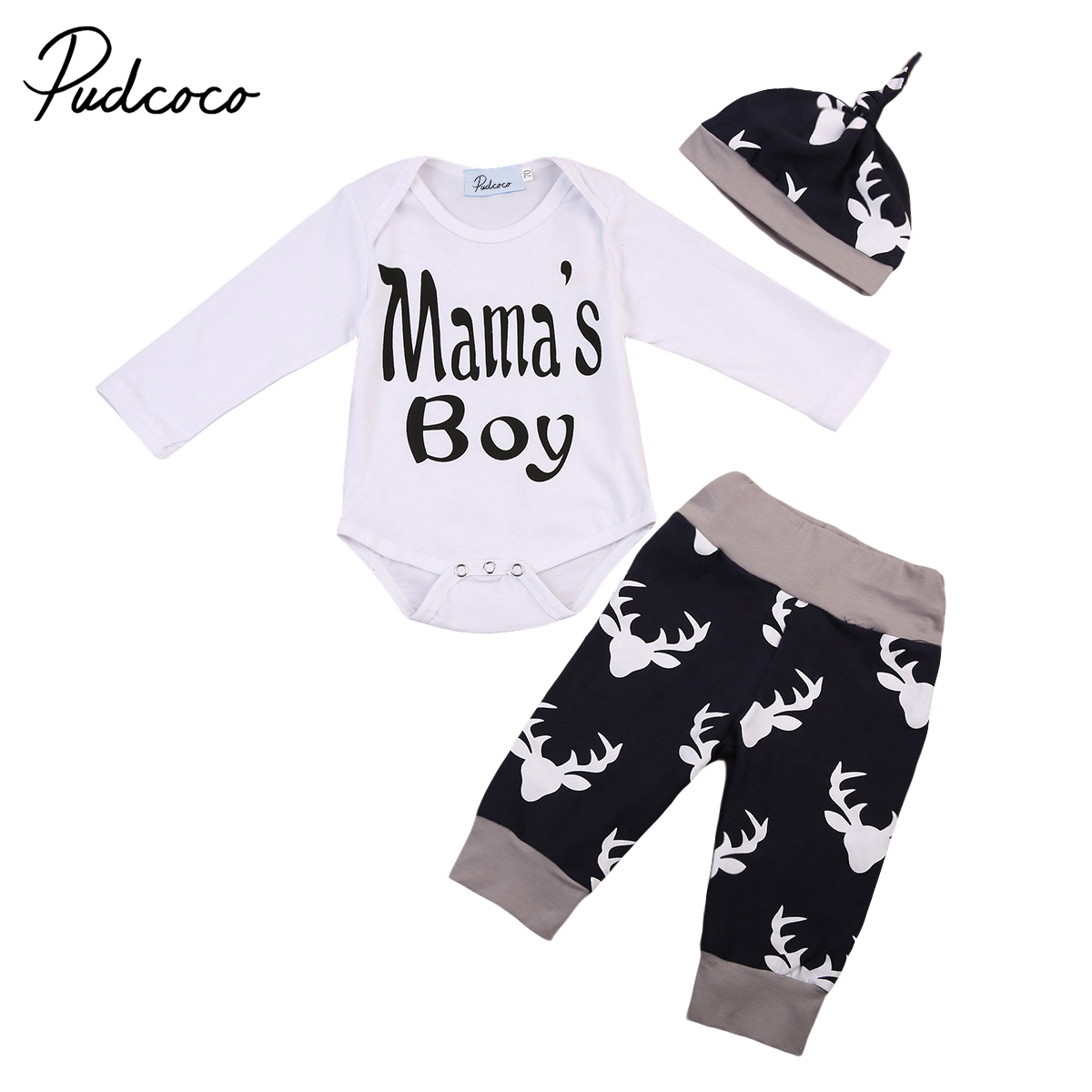 Pudcoco Newborn Autumn Infant Baby Boys Tops Romper+Deer Pants Christmas Leggings Outfit Winter Clothes 0-18M