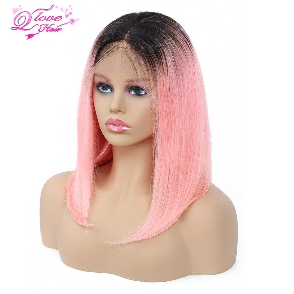 Queen Love Hair Malaysian 13 4 Lace Front Bob Wig 100 Human Hair 1B 99J 27