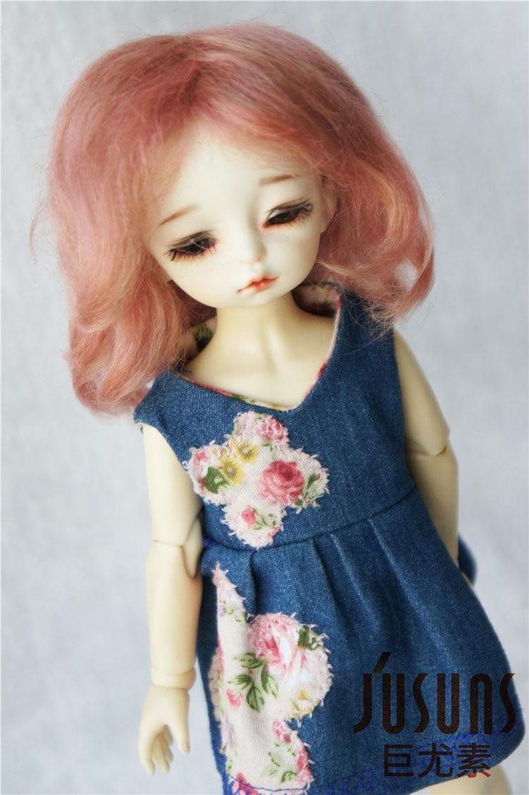 JD044  YOSD  Mohair Doll Wigs  1/6  Mid long curly  BJD Dark pink wig
