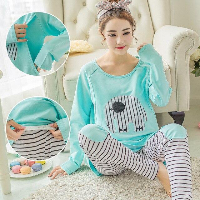 64fcacdab0b3 pijamas de mujer lactancia manga larga invierno embarazadas algodon camison  maternal enfermera premamá ropa pregnant de