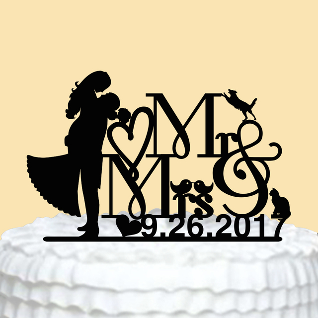 Personalized Wedding Cake Topper with Bird Number Custom Mr Mrs ...
