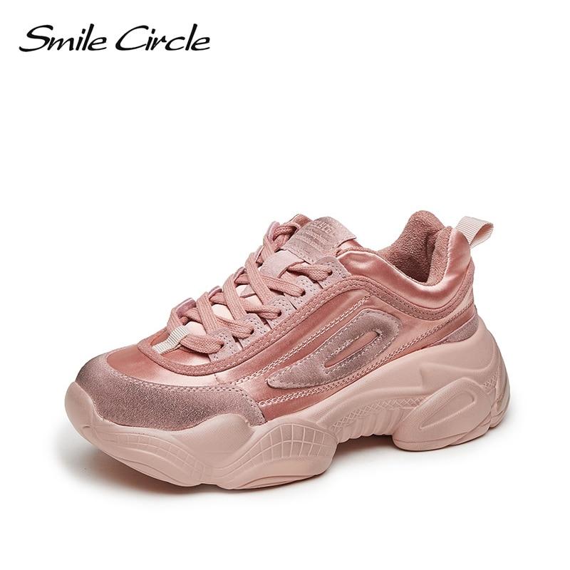 Ayakk.'ten Vulkanize Kadın Ayakkabıları'de Gülümseme Daire Ayakkabı Kadın düz ayakkabı 2019 bahar yeni Hakiki Deri Rahat Basit Bayanlar Platformu öğrenci açık Ayakkabı'da  Grup 1