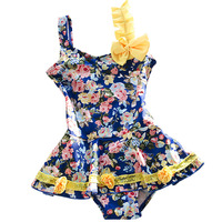 Children Girls Swimming Suit Kawaii Floral Print Yellow Bowknot One Piece Swimsuit Skirt Style Baby Swimwear
