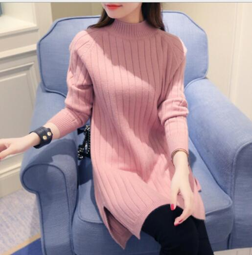 Loose knit clothing Fashion maternity urtleneck Knitted Pullover Loose Sweater Jumper Knitwear Pregnant women long sweaters sliver plated irregular hem loose jumper