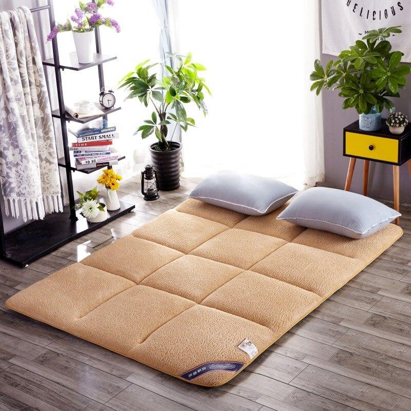 Berber Fleece Bed Mattress Pad Sheets Double/Single Bed Cushion Tatami Mattress Topper Soft Comfortable Breathable Bed Mattress