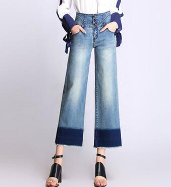 Wide leg pans for women plus size denim jeans casual capris tassl high waist spring autumn