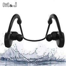 M & J M11 IPX7 กันน้ำชุดหูฟังไร้สายบลูทูธสเตอริโอ Sport Swim หูฟังพร้อมไมโครโฟนสำหรับ iPhone Samsung Xiaomi อาบน้ำ