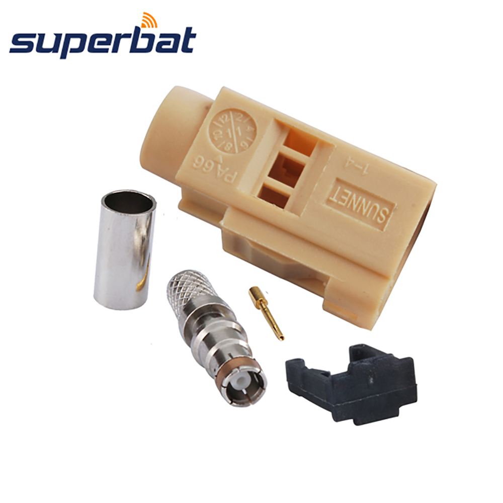 Superbat Fakra I Beige/1001 Jack Female Crimp Connector For Bluetooth For Caxial Cable RG58 LMR195