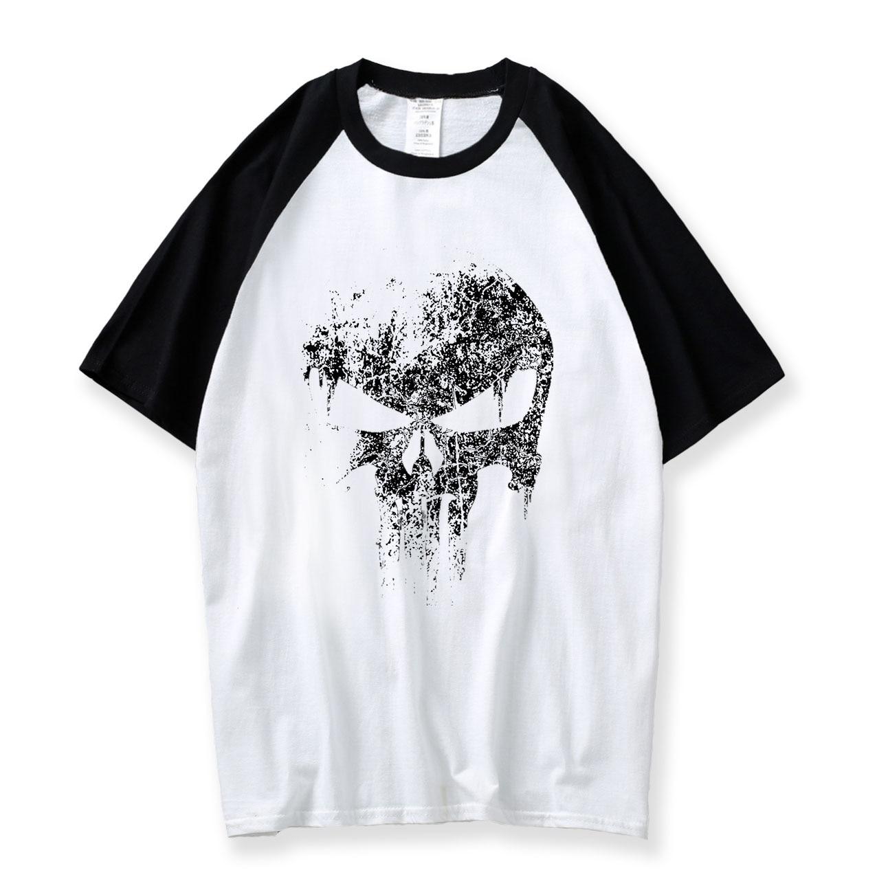 Skull Men Fashion T Shirt Print New Comics Supper Hero 2018 Summer Raglan Hiphop Tshirt Cotton O Neck Boys Tees