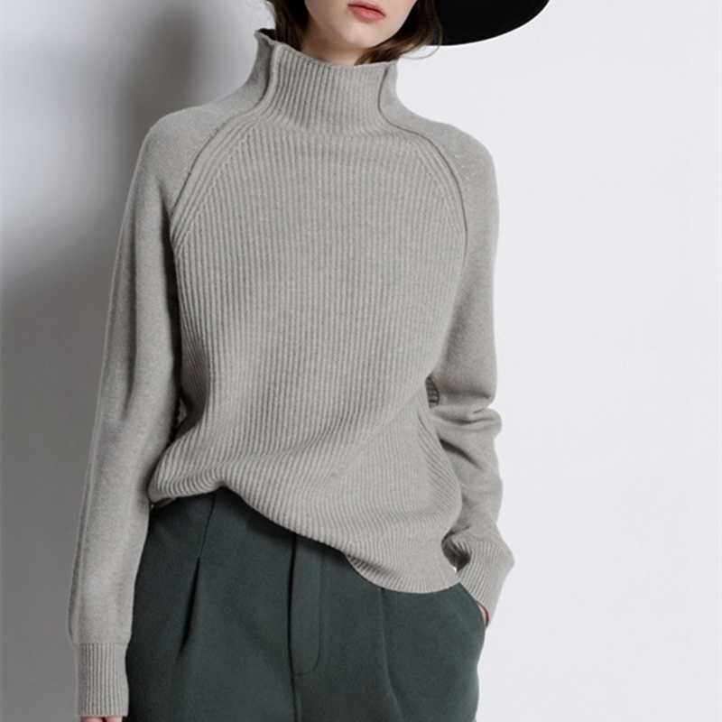 New Arrival Autumn Winter Cashmere Sweater Women High-Collar Thickened Pullover Loose Sweater Knitted Wool Shirt Female Jumper