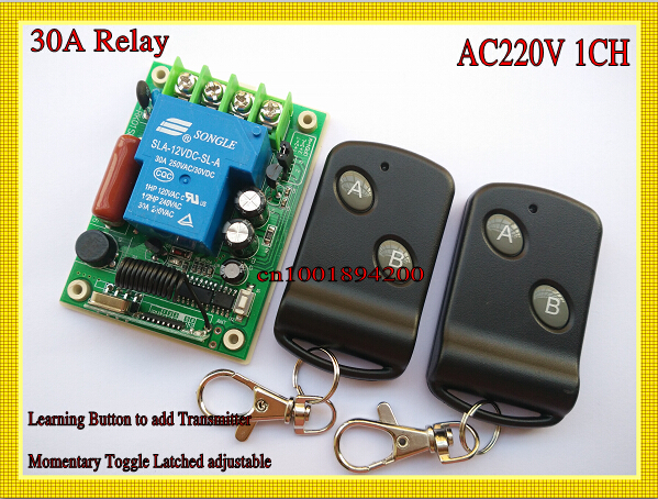 AC 220V 30A Relay Receiver Remote Control Switch Wireless High Load LED Waterpump Motor Power Remote ON OFF Controller Learning ac 380v 63a 3 pole 2 knife switch circuit control opening load switch