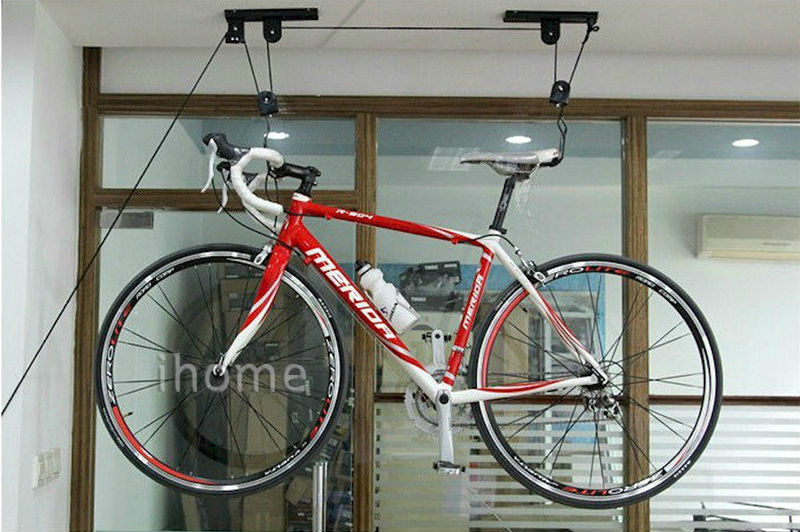 ceiling mount bike rack cosmecol. Black Bedroom Furniture Sets. Home Design Ideas