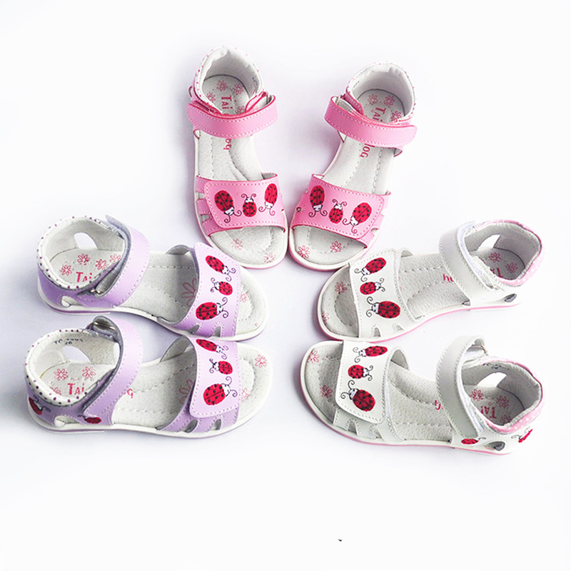 FASHION White&purple&pink 1pair girl Genuine Leather Orthopedic Children Sandals,Super quality shoes
