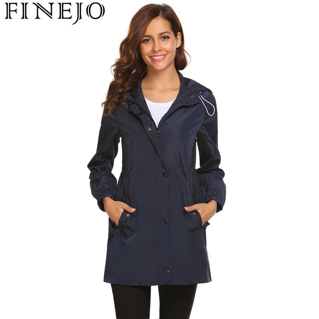 81e0912d0e US $17.24 31% OFF|FINEJO Winter Women Jacket 2018 Spring Hooded Drawstring  Coat Long Sleeve Solid Zipper Casaco Feminino coats and jackets women-in ...