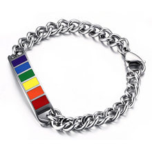 Mens Rainbow Bracelets for Woman Stainless Steel Cuban Curb Link Chain Bangles Gay & Lesbian Pride Unisex Jewelry(China)