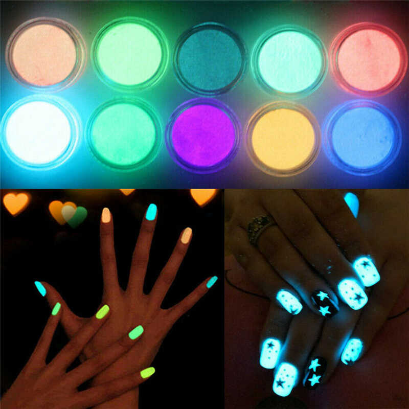 Glow In The Dark Nail Art Dust 10X/Set Mix Kleur Lichtgevende Nail Art Fluorescent Neon Acryl Dust Tip 3D DIY Nagels Art Poeder Hot