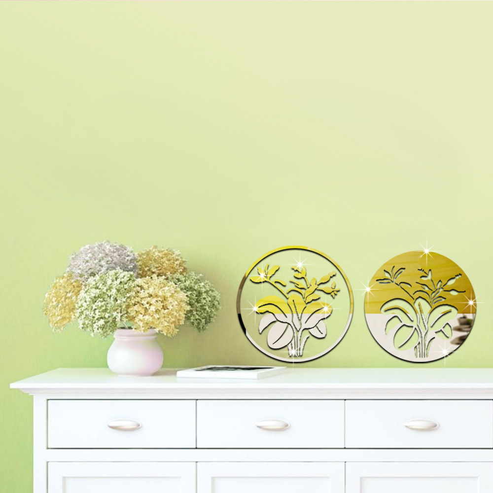 3D mirror wall stickers New Classical Post modern Flowers acrylic ...